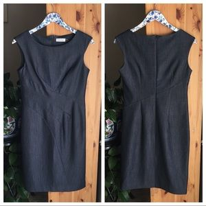 "Calvin Klein ""Denim"" Sleeveless Sheath Dress, 4"